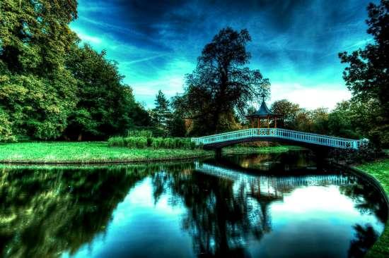 Картина по номерам 40x50 Мост у реки на рассвете