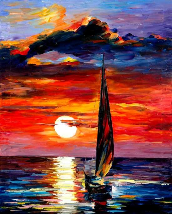 Алмазная мозаика 40x50 Одинокий парусник на закате в море